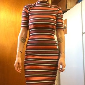 Urban Outfitters striped mock neck bodycon dress